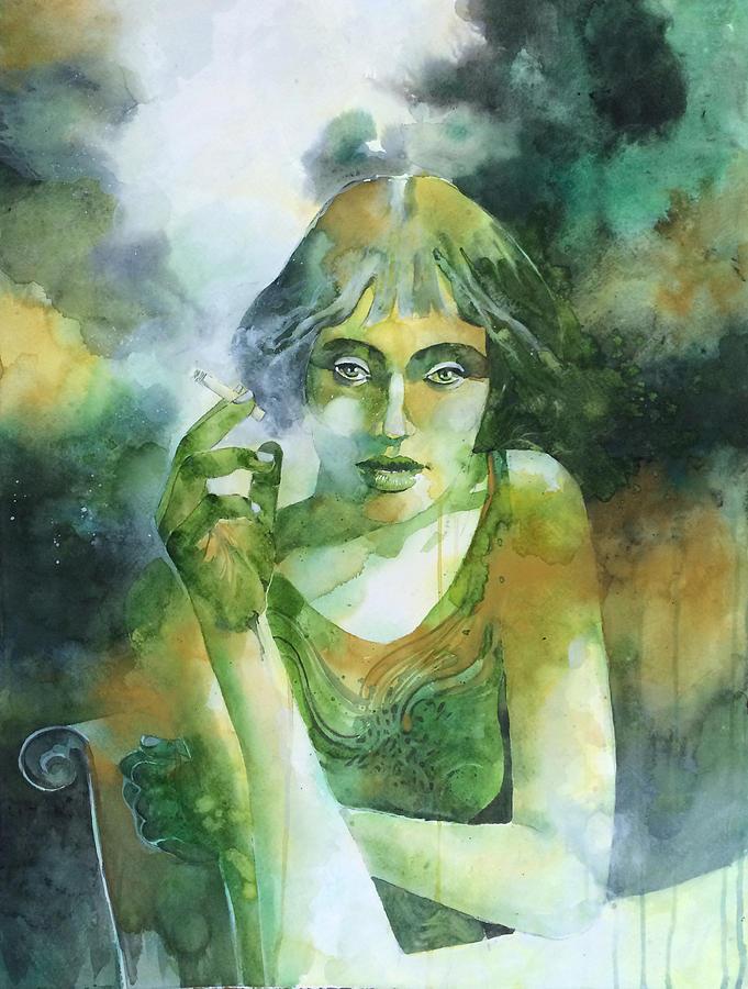 Girl Painting - La Ragazza Che Fumava Gauloises by Alessandro Andreuccetti