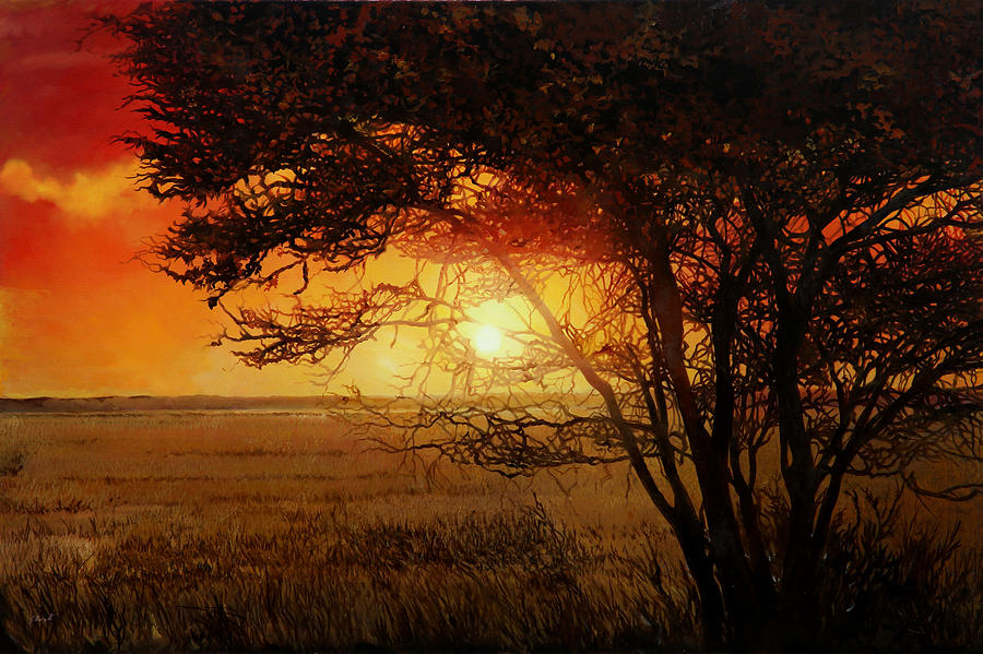 Savana Painting - La Savana Al Tramonto by Guido Borelli