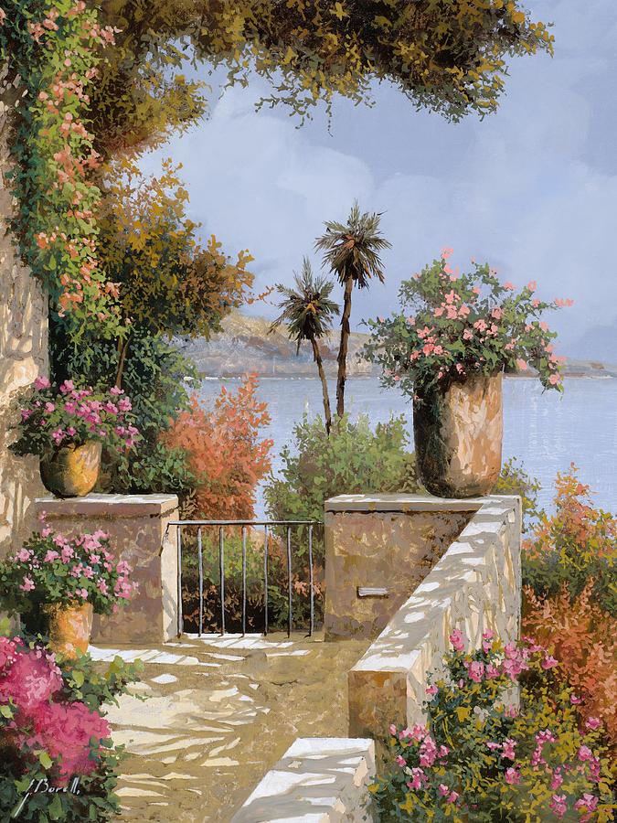 Terrace Painting - La Terrazza Un Vaso Due Palme by Guido Borelli