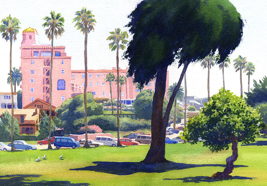La Valencia Painting - La Valencia Hotel And Cypress by Mary Helmreich