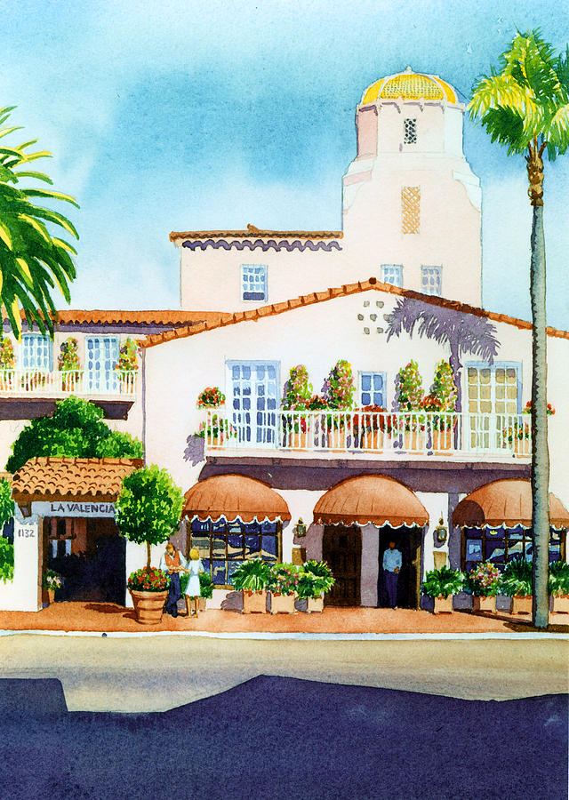 La Valencia Painting - La Valencia Hotel by Mary Helmreich