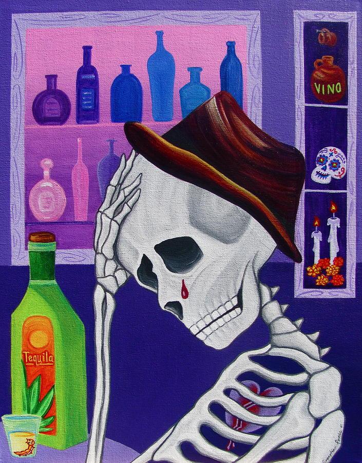 Dia De Los Muertos Painting - La Vida No Vale Nada Dos by Evangelina Portillo