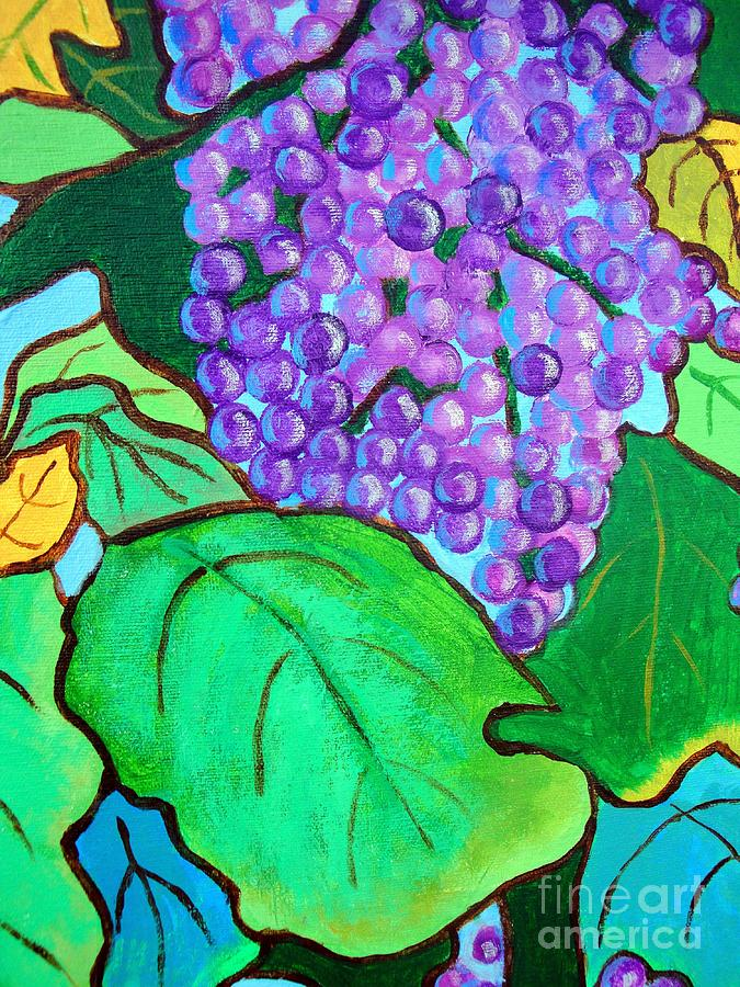 Grapes Mixed Media - La Vin II by Doreen Kirk