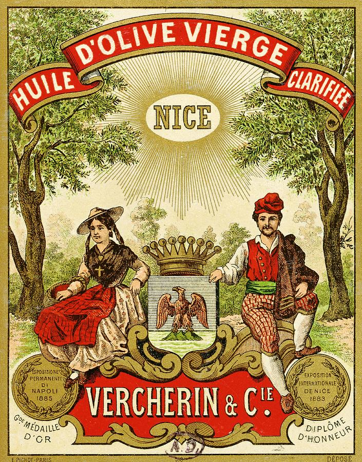 Advert Painting - Label For Vercherin Extra Virgin Olive Oil by French School