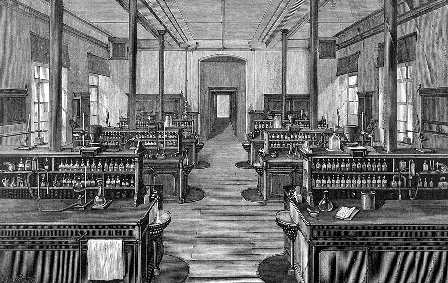 Laboratory At Leipzig Germany Drawing By Mary Evans Picture Library
