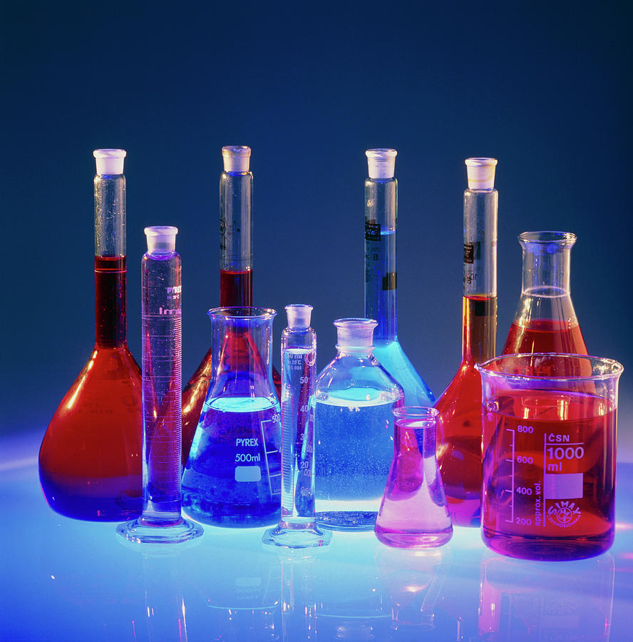 Laboratory Flasks Containing Chemical Solutions Photograph ...