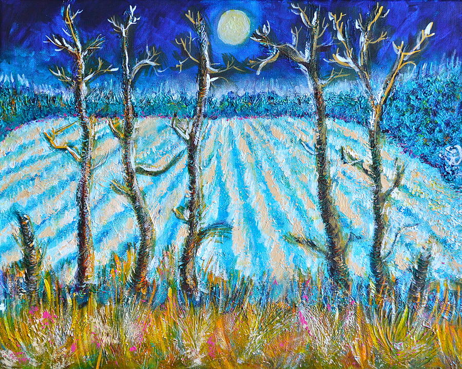 Labored Fields Under The Moon Light Painting