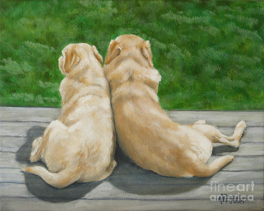 Labrador Painting - Labrador Lazy Afternoon by Amy Reges