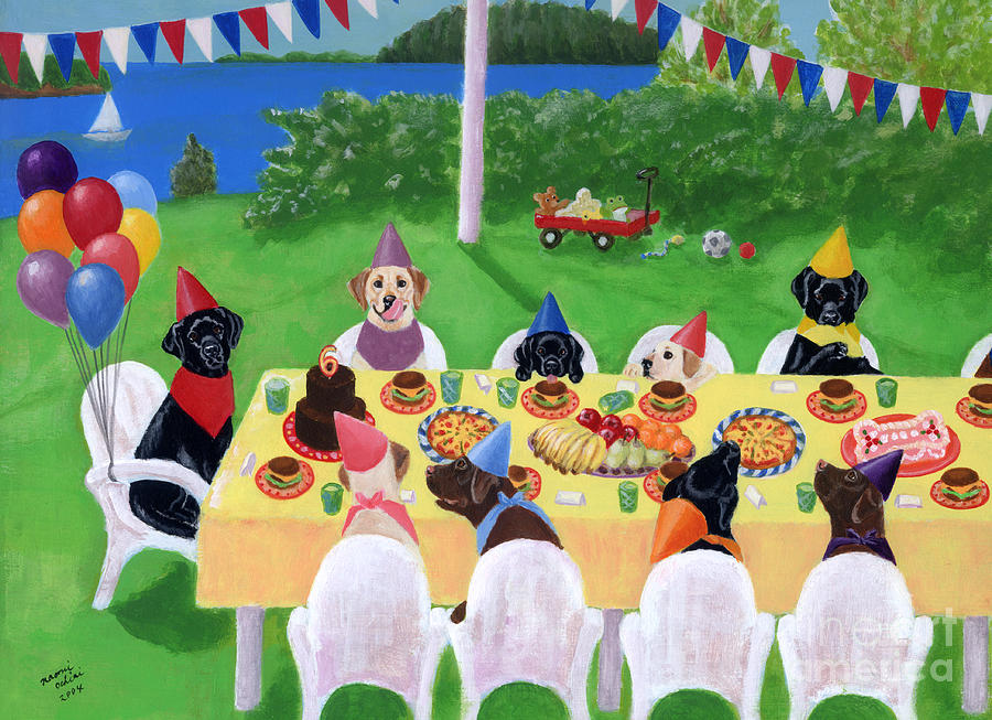 Funny Labrador Painting - Labrador Party by Naomi Ochiai
