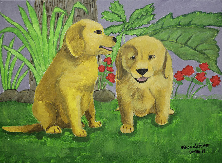 Animals Painting - Labrador Puppies by Ethan Altshuler