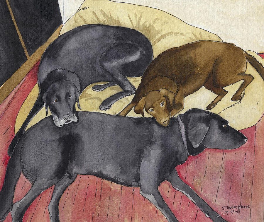 Labrador Retrievers Resting At Home Painting by Ethan Altshuler