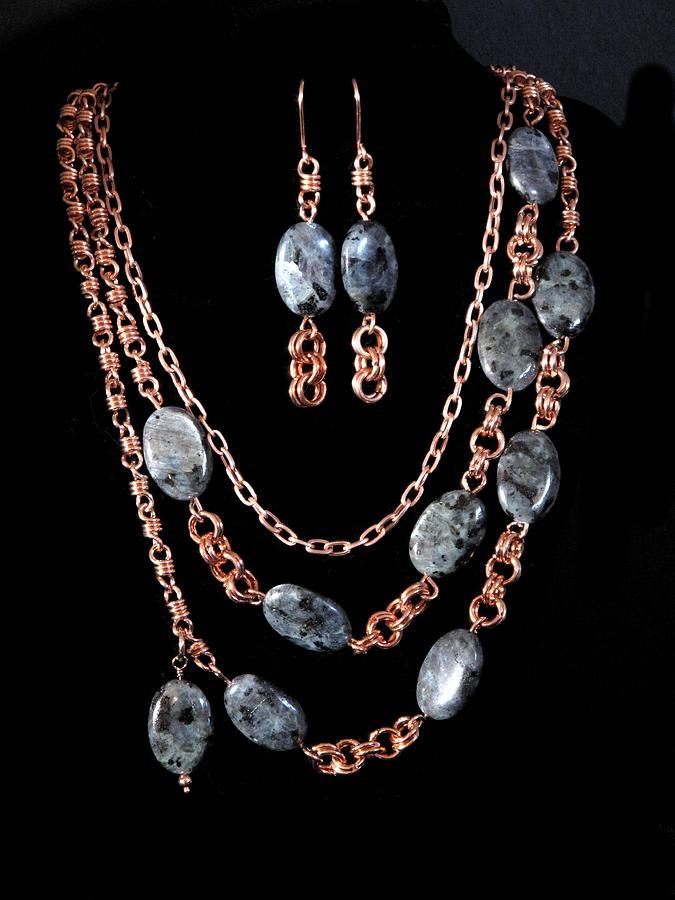 Necklace Painting - Labradorite And Copper by Jan Brieger-Scranton