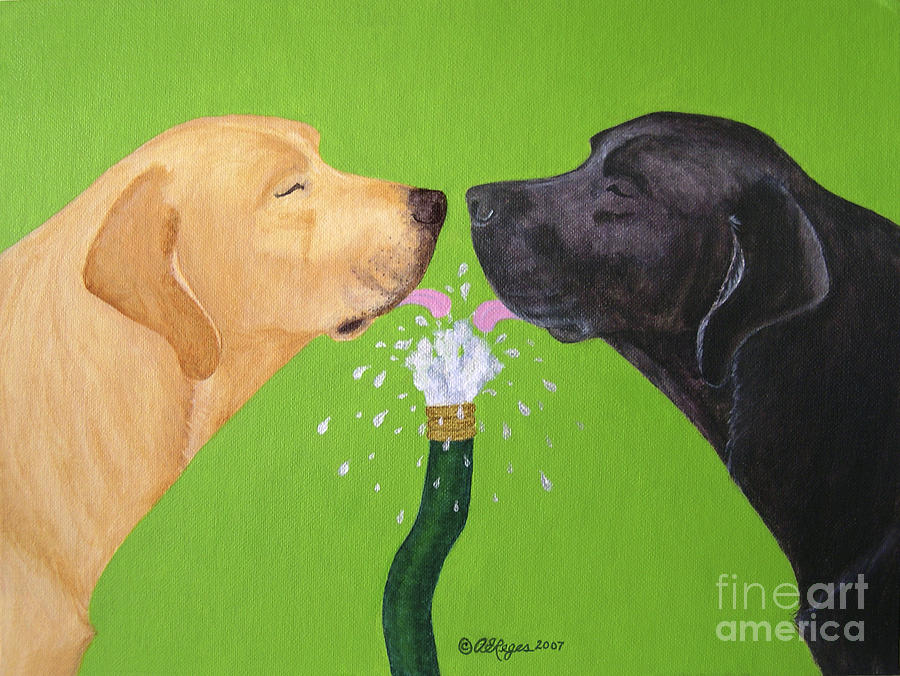 Lab Painting - Labs Like To Share 2 by Amy Reges