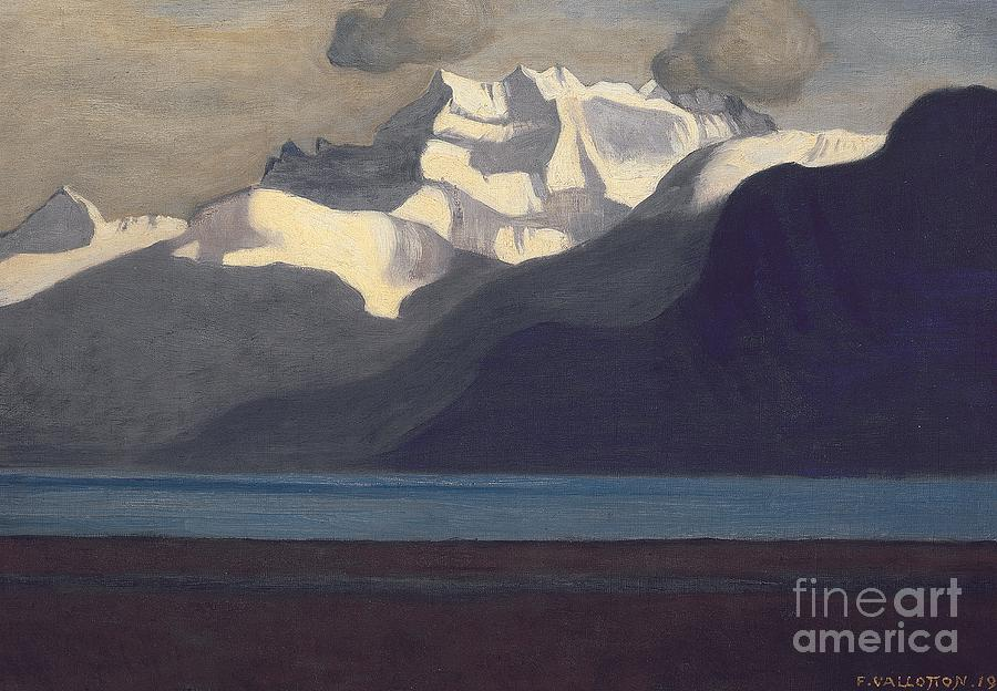 Lac Leman; Leman; Lake; Lake Geneva; Swiss; Switzerland; Mountain; Mountains; Mountainous; Scenic; Snow; Snow-capped; Peaks; Dents-du-midi; Dents Du Midi; Alps; Alpine; Landmark; Coast; Coastal; Coastline Painting - Lac Leman And Les Dents-du-midi by Felix Edouard Vallotton