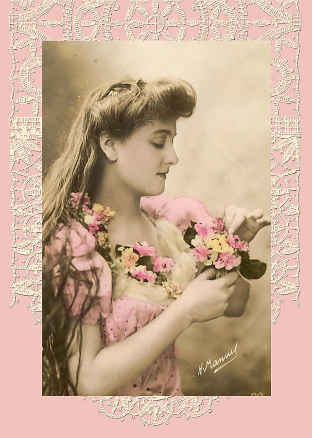 Vintage Digital Art - Lace And Poisies Victorian Lady by Denise Beverly