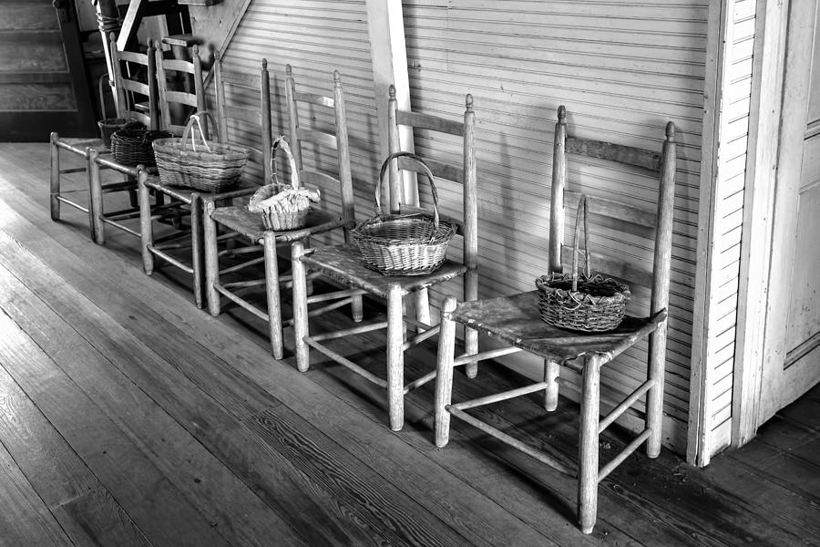 Ladder Back Chairs And Baskets Photograph - Ladder Back Chairs And Baskets by Lynn Palmer
