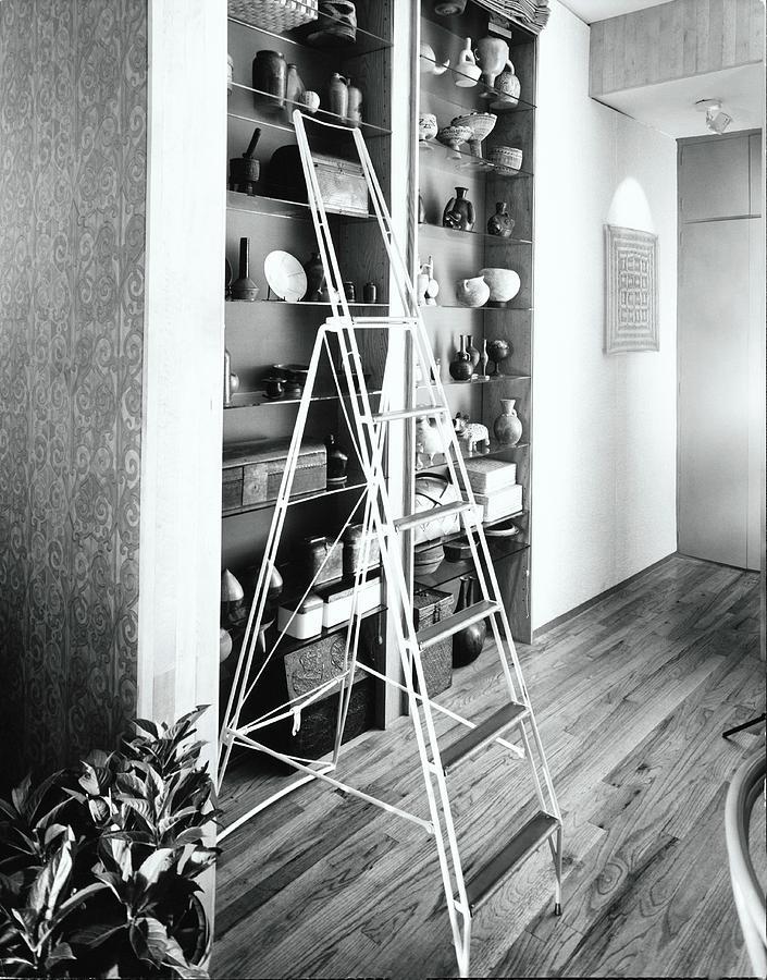 Ladder By Shelves Photograph by Tom Leonard