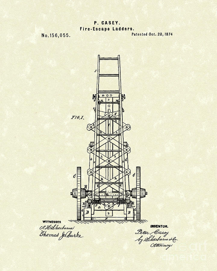 Casey Drawing - Ladders 1874 Patent Art by Prior Art Design