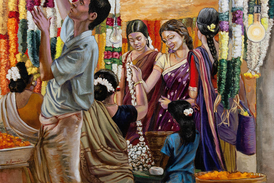 Flowers Painting - Ladies At The Flower Market In India by Dominique Amendola