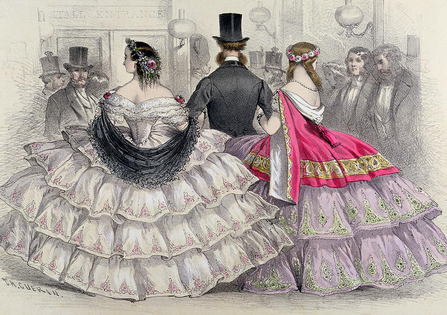 Crinoline Painting - Ladies Wearing Crinolines At The Royal Italian Opera by TH Guerin