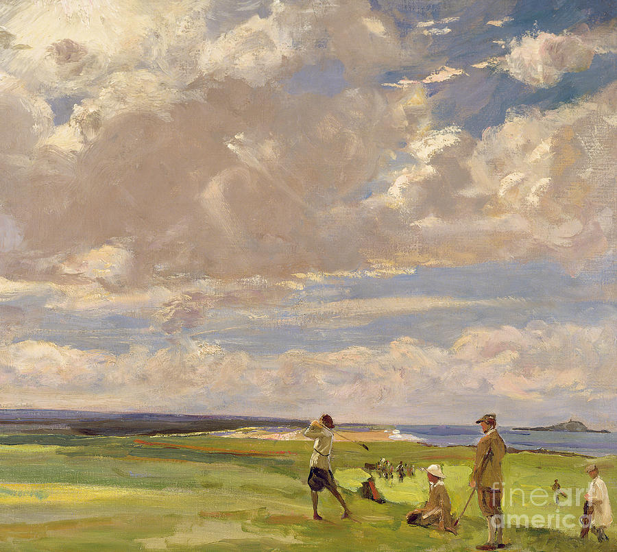Golf Painting - Lady Astor Playing Golf At North Berwick by Sir John Lavery
