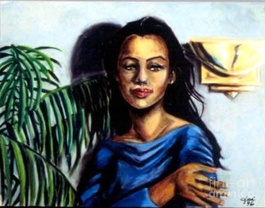 Portrait Painting - Lady Blue by Jose Breaux