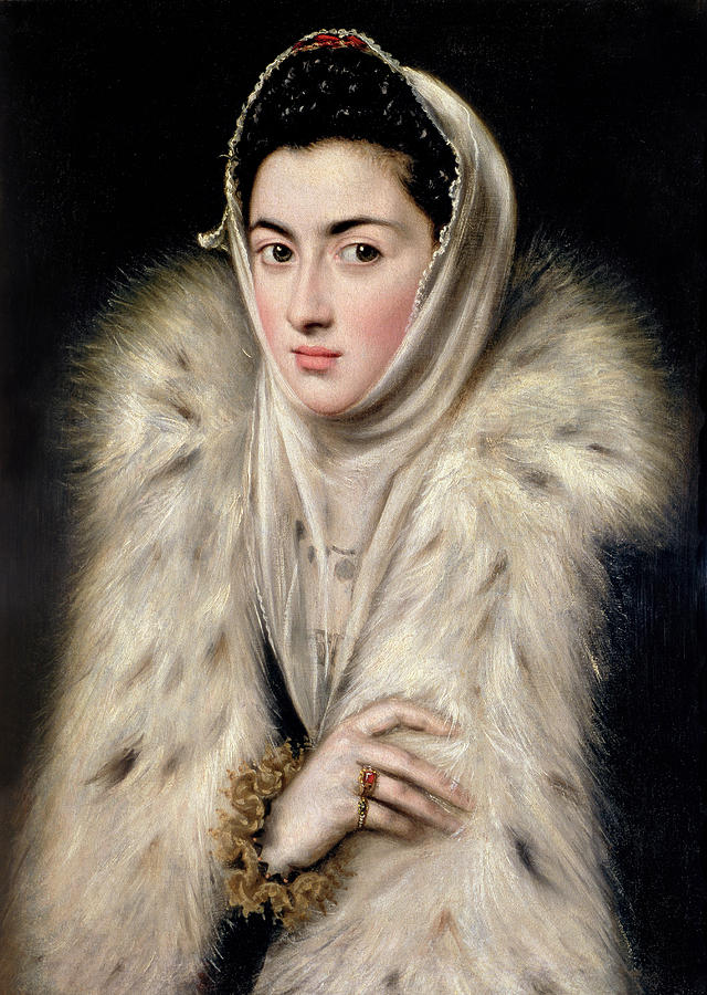 Female Painting - Lady In A Fur Wrap by Domenico El Greco