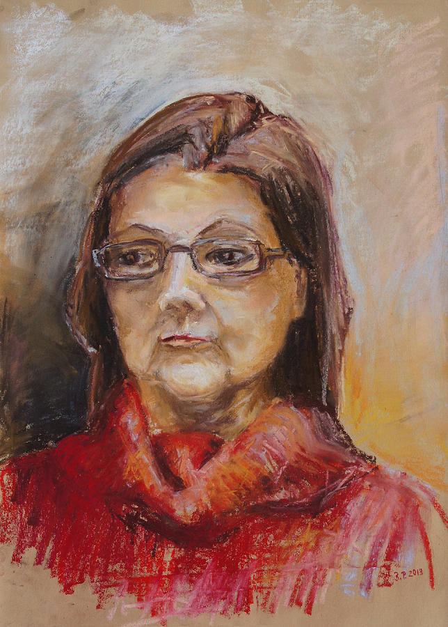 Lady Drawing - Lady In A Red Pullover by Barbara Pommerenke