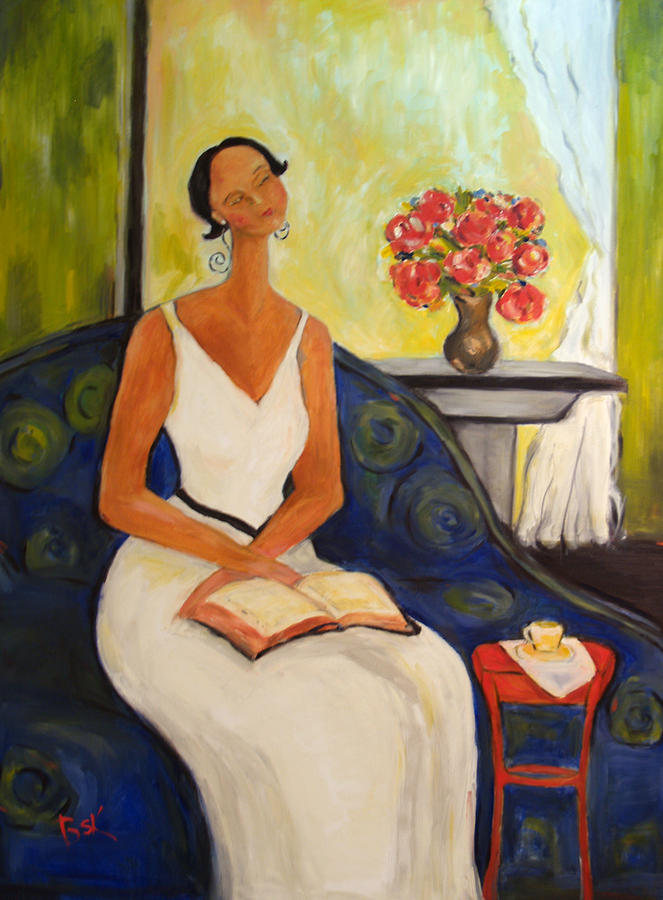 Oil Painting - Lady In Blue Chair by Becky Kim