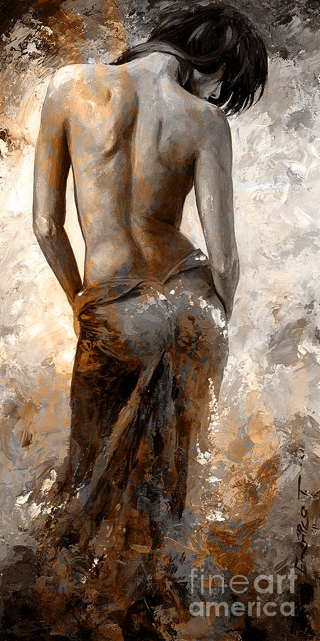 Nude Painting - Lady In Red #27 Digital Colored Rust by Emerico Imre Toth