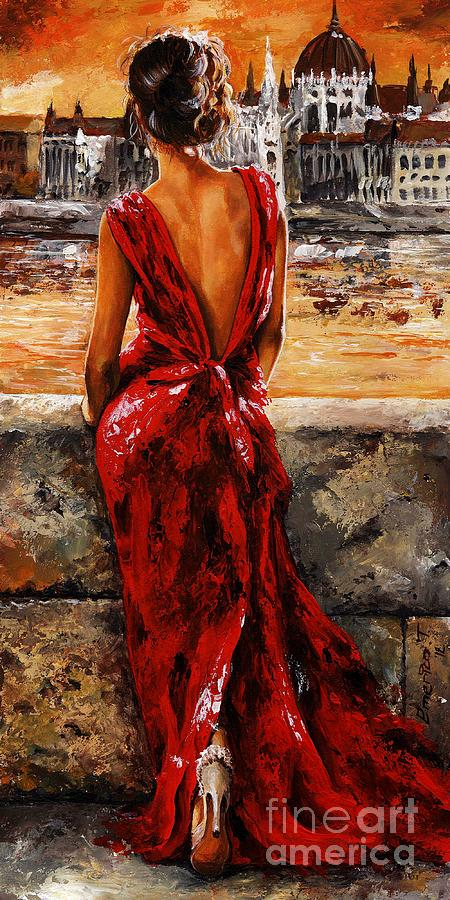 Lady In Red 34 I Love Budapest Painting By Emerico Imre Toth