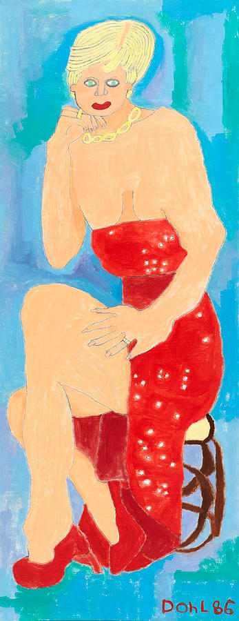 Naive Painting - Lady In Red by Don Larison