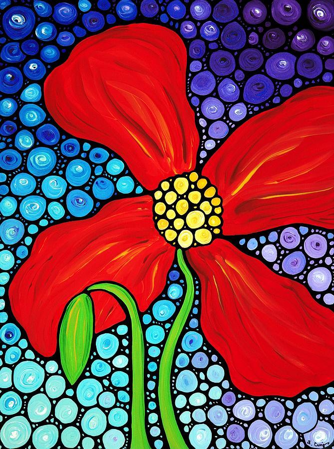 Poppy Painting - Lady In Red - Poppy Flower Art By Sharon Cummings by Sharon Cummings