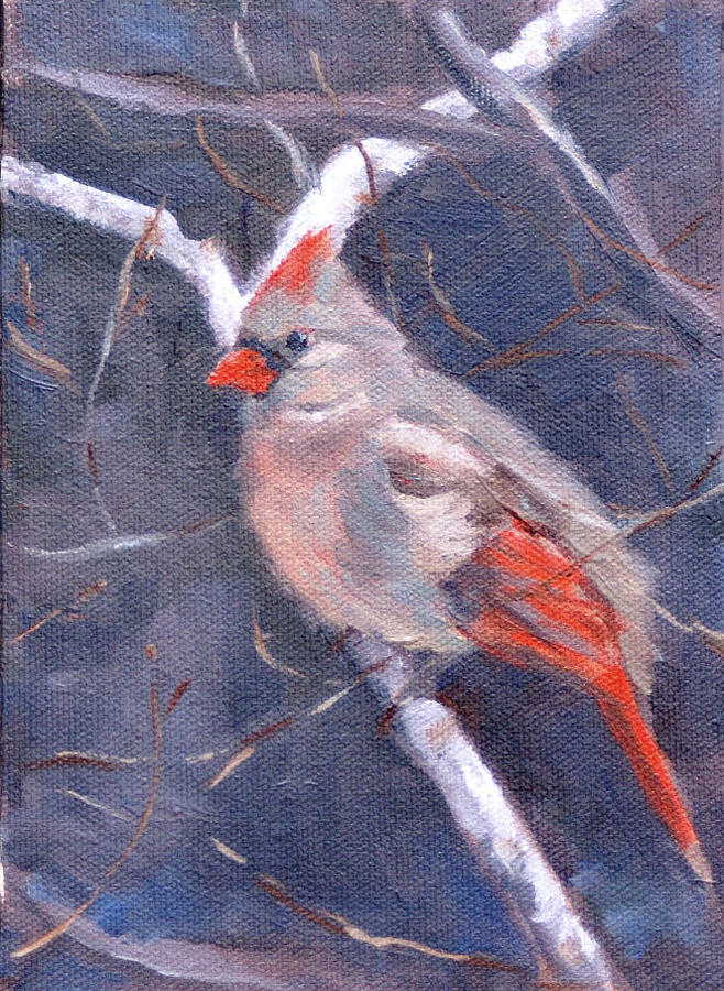 Bird Painting - Lady In Red by Sandra Harris
