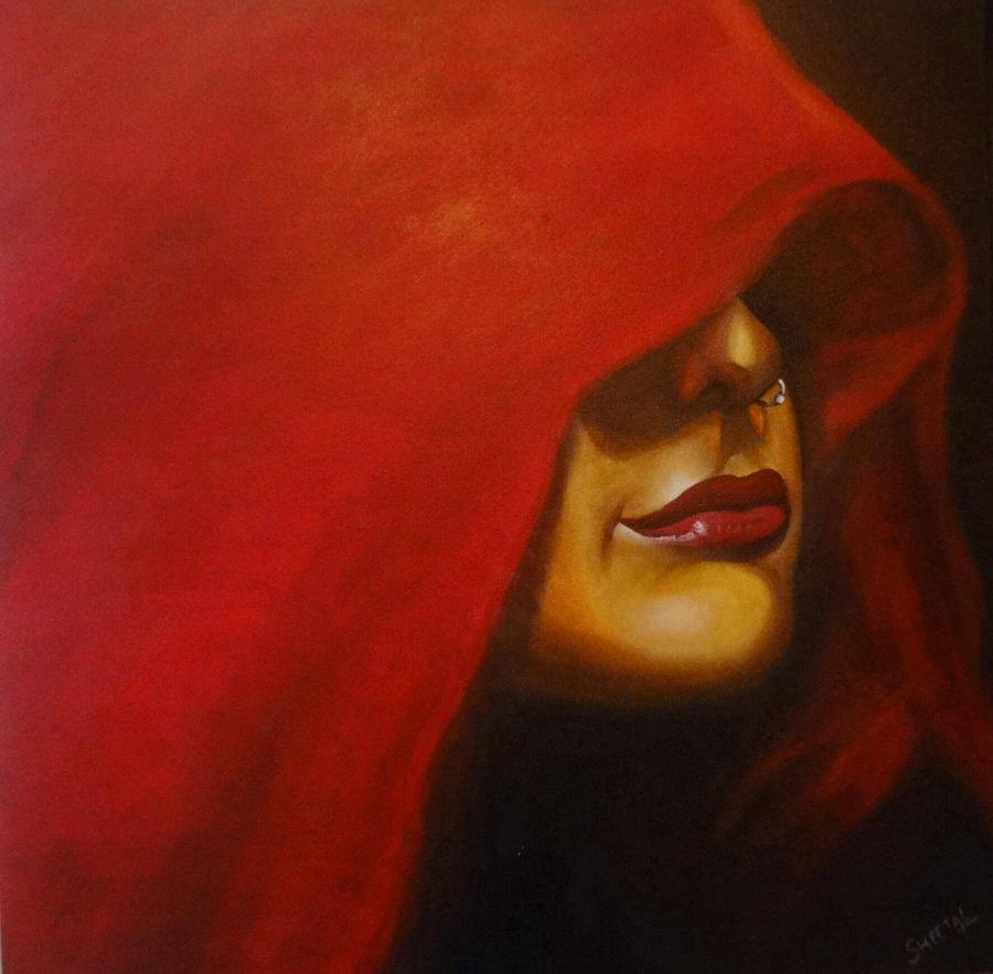 Nature Painting - lady in Red by Sheetal Bhonsle