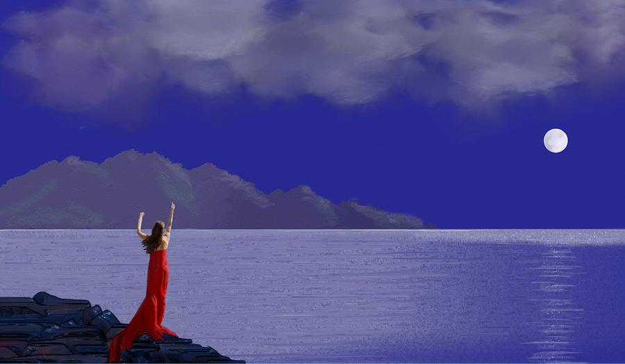Seascape Digital Art - Lady In Red by Tony Rodriguez
