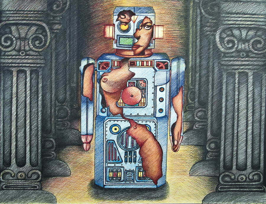 Steampunk Drawing - Lady In The Robot by Larry Butterworth