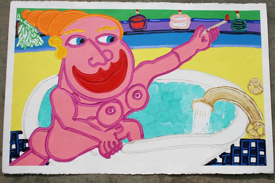 Bath Painting - Lady In The Tub by Matthew Brzostoski