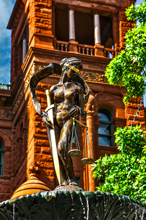 Fountain Photograph - Lady Justice Fountain by Greg Sharpe