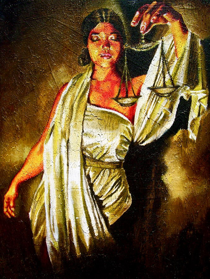 Lady Justice Sepia Painting by Laura Pierre-Louis