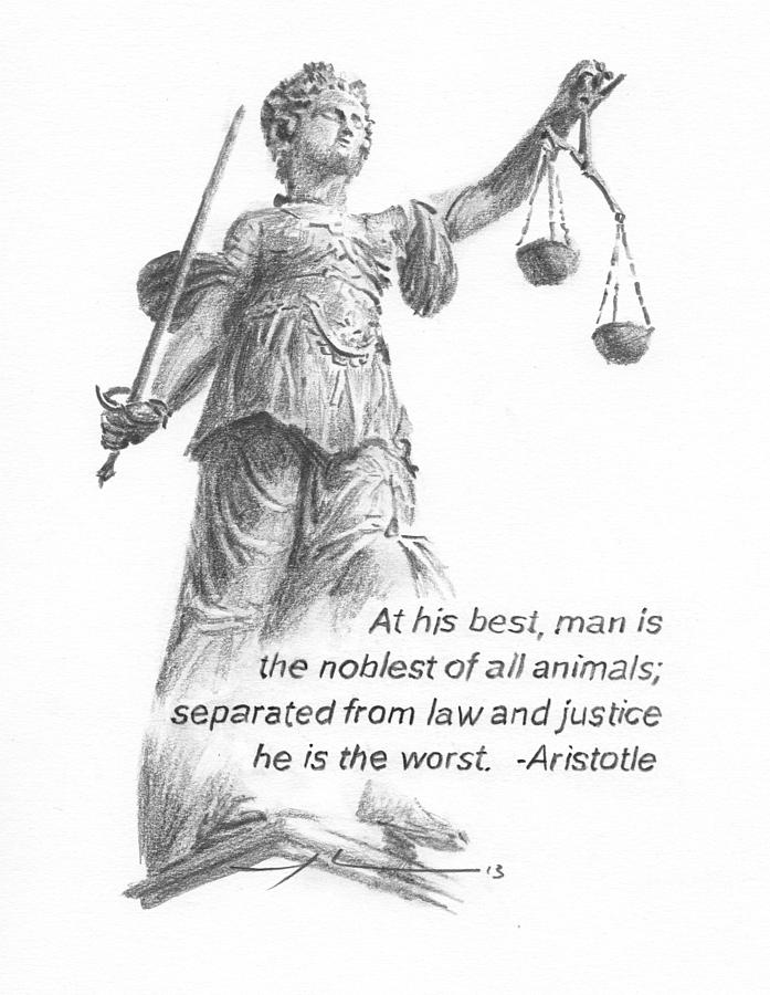 Lady Justice Statue Pencil Portrait Painting by Mike Theuer