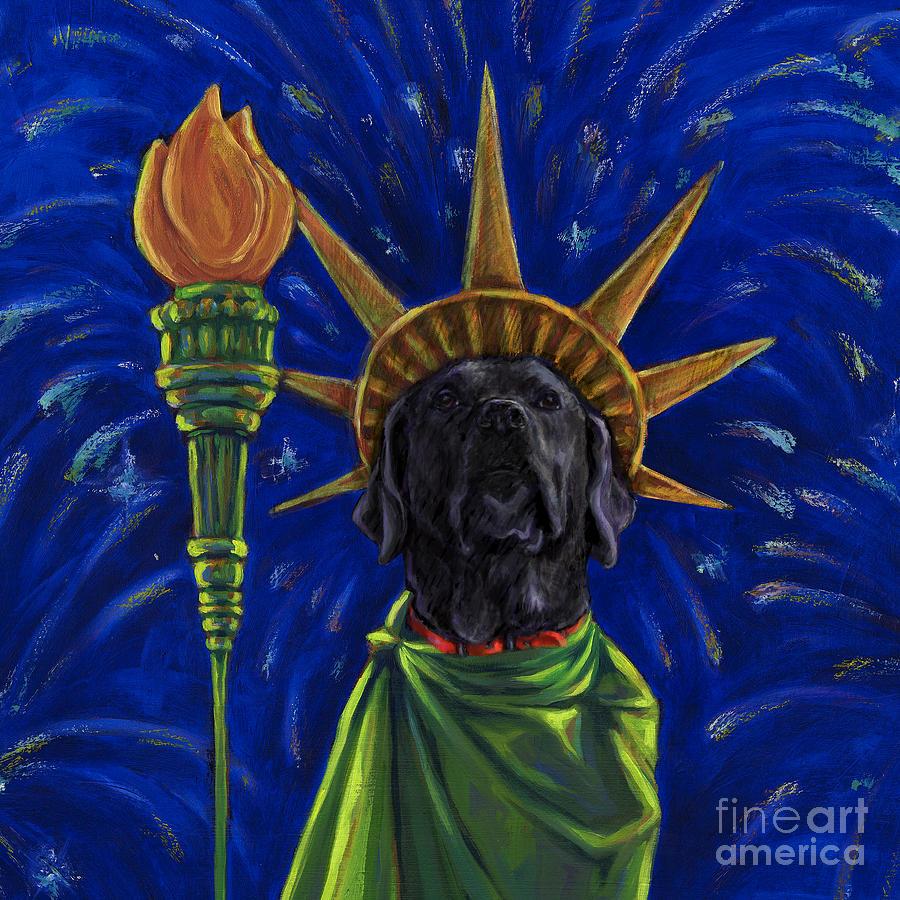 Black Labrador Retriever Mixed Media - Lady Liberty - Black by Kathleen Harte Gilsenan