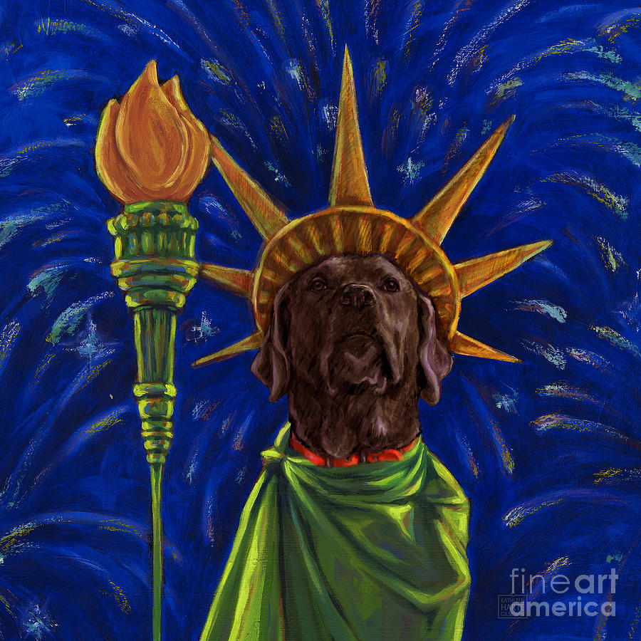 Chocolate Labrador Retriever Mixed Media - Lady Liberty - Chocolate by Kathleen Harte Gilsenan