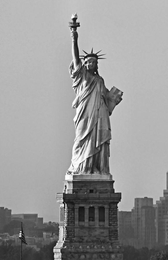 Statue Of Liberty Photograph - Lady Liberty Black And White by Kristin Elmquist