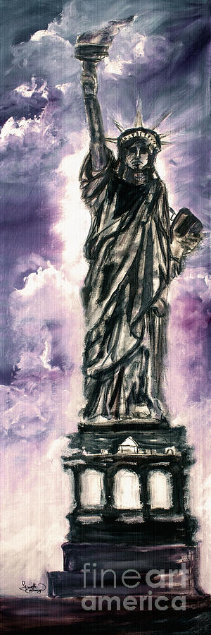 Independence Day Painting - Lady Liberty Charcoal And Oil by Ginette Callaway