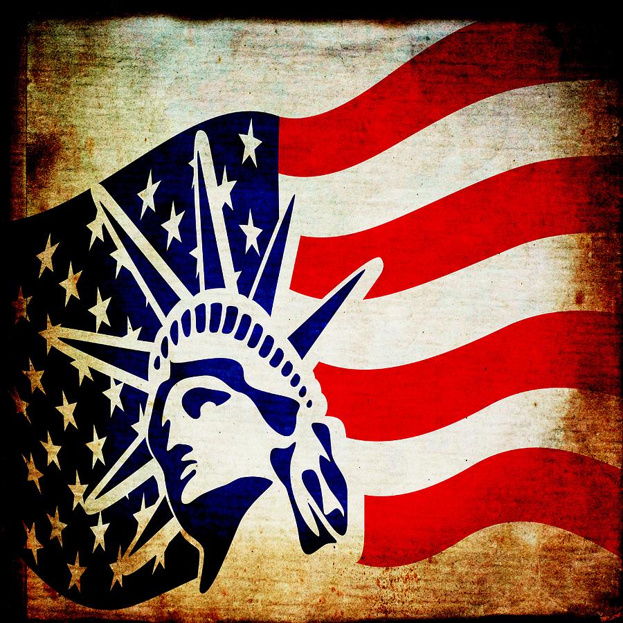 Usa Mixed Media - Lady Liberty Keeps Watch by Angelina Vick