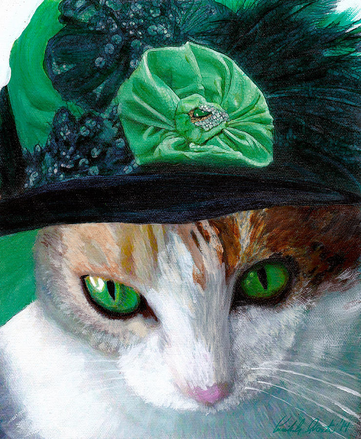 Lady Little Girl Cats In Hats Mixed Media