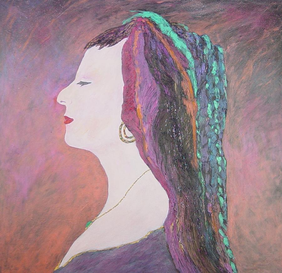 Portrait Painting - Lady Madonna No. 1 Listen To The Music Playing In Your Head by J Michael Orr