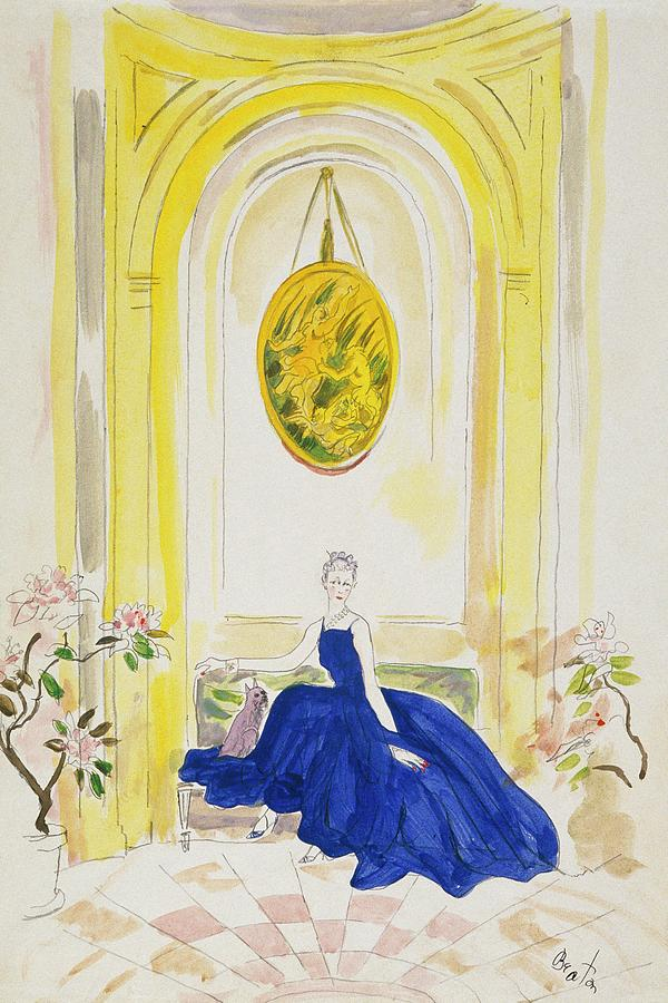 Lady Mendl Wearing A Blue Dress Digital Art by Cecil Beaton
