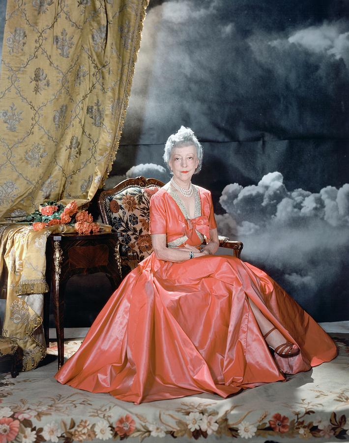Lady Mendl Wearing An Orange Dress Photograph by Horst P. Horst